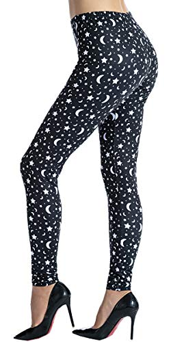 Ndoobiy Women's Printed Leggings Full-Length Regular Size Yoga Workout Leggings Pants Soft Capri L1(Moon Star OS)