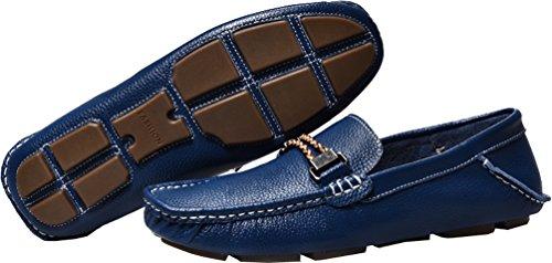 Abby Mens Qz-1718 Mode Komfort Mysig Hemtrevnad Meddelande Chirismus Drivande Platta Läderskor Blå