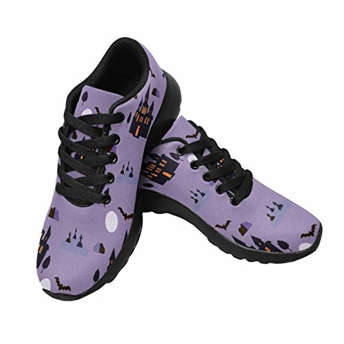 InterestPrint Womens Trail Running Shoes Jogging Lightweight Sports Walking Athletic Sneakers Halloween Pattern With Bat,House,Moon and Tree Multi 1
