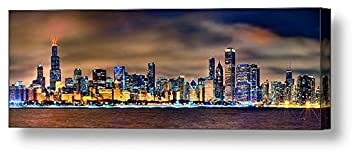 CANVAS Chicago Skyline at NIGHT COLOR 16 inches x 46 inches City Downtown Photographic Panorama Print Photo Picture