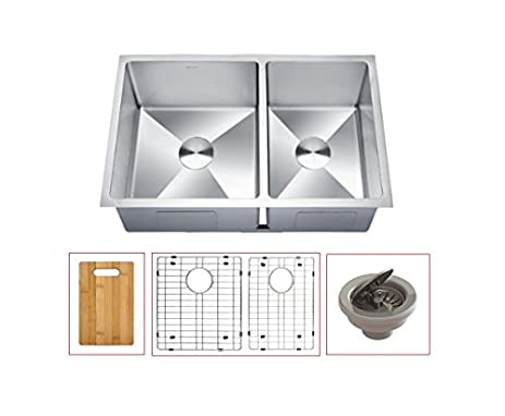 Rotenia 16G Double Bowl Stainless Steel Undermount Handmade Kitchen Sink  60/40   LOTTARE 200107