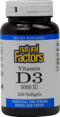 (Natural Factors, Vitamin D3 5000 IU, Supports Strong Bones, Teeth, and Muscle and Immune Function with Flaxseed Oil, 240 softgels (240 Servings))