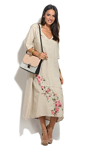 100 Lin Robe Beige Femme Printemps Collection Eté TTrpxqw7