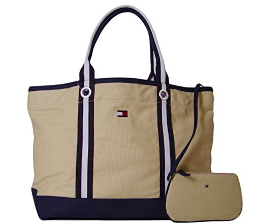 Tommy Hilfiger TH Signature Embroidered Canvas Large Beach Travel Tote Bag, Khaki / Navy