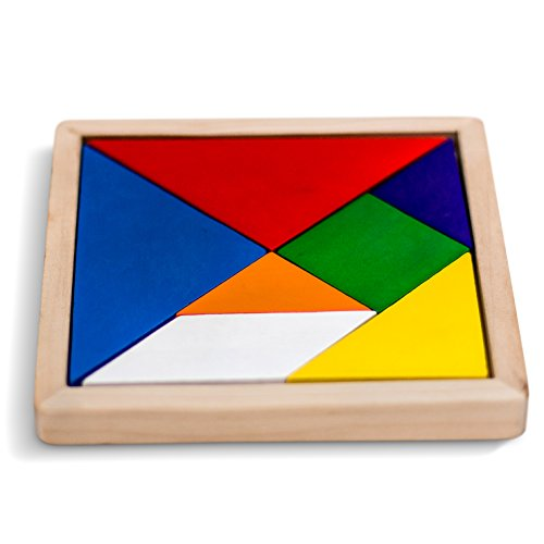 GrowUpSmart Wooden Tangram Puzzle Game, Rainbow Colored, 5.5