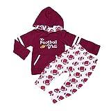 ASISOL Baby Girl 2Pcs Clothing Set Letter Football Print Cotton Hoodies with Pocket + Pants (18-24m(110), Crimson)