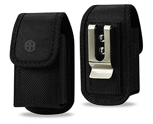 Premium AccessoryHappy Military Grade Canvas Belt Case, Small Rugged Pouch Belt Clip Holster Nylon Metal Clip Flip Phone Belt Case Fits Most Small FLIP Phones (Black)