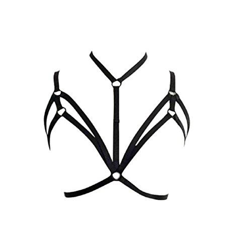 Price comparison product image Underwear,  PHOTNO Alluring Women Harness Bra Elastic Cage Bra Strappy Hollow Out Bra Bustier (L)