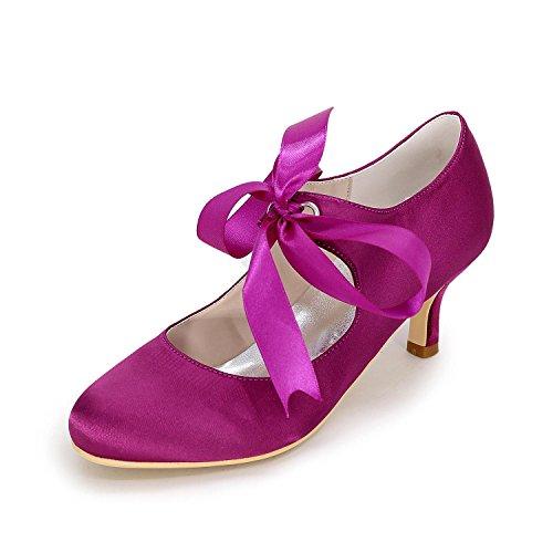 Cinta Medio Cerrado Lazo Superior Alto Dedo Zapatos Purple Con Pie Carrete La Boda De Tacón Del Mujer L Bombas Novia Talón yc Satén T0vUqU
