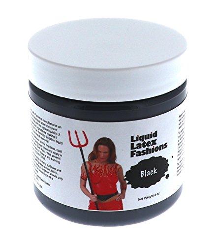 Liquid Latex Fashions Body Paint, Black, 4 Ounce