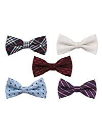 Bundle Monster Mens Tuxedo Adjustable Neck Bowtie Bow Tie 5pc Mixed Lot Set #3