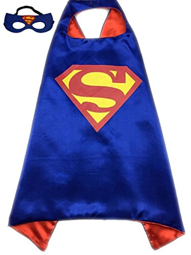 ReachMe Superhero Dress Up Costumes Cape Mask Set Halloween Costume Party Cloak(Superman)