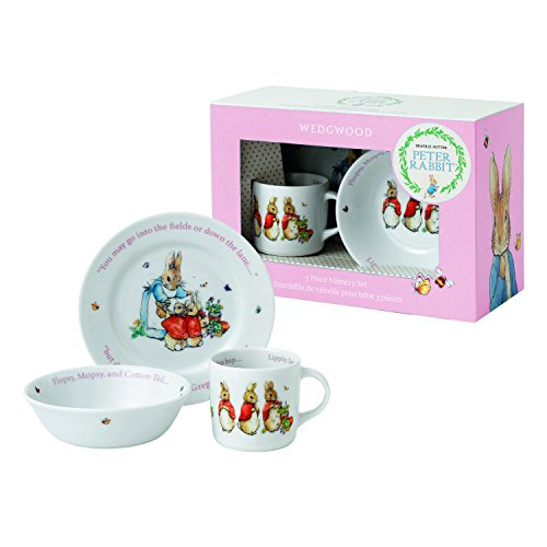 Wedgwood Girl's Peter Rabbit 3-Piece Plate, Bowl and Mug Set, White and Pink Beatrix Potter Christmas