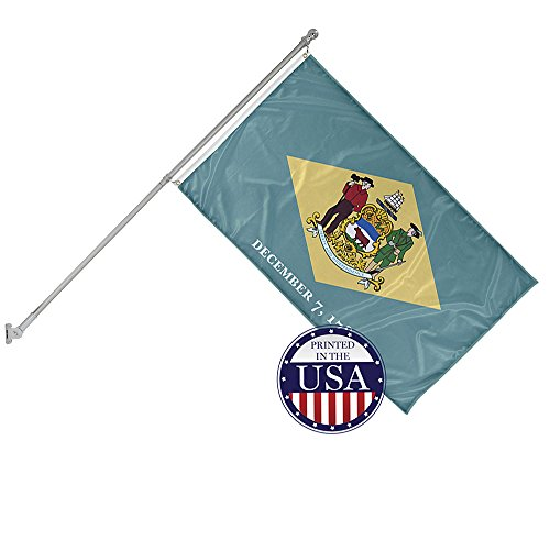 Knitted Collection (Vispronet - Delaware State Flag and 6ft Flagpole with Wall Mounting Bracket - 3ft x 5ft Knitted Polyester Flag, State Flag Collection, Flag Printed in the USA)