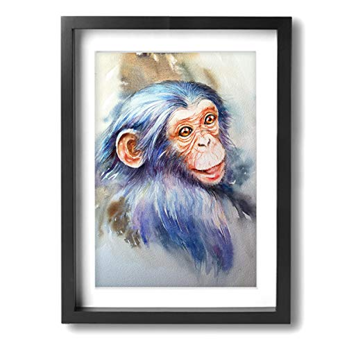 12 X 16 Oil Painting Black Wood Frame with Mat Chimpanzee Baby Modern Wall Art Pictures Decor Ready to Hang - Home Living Room Bedroom Bathroom Office ()
