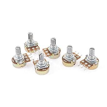 uxcell® 6 Pcs Silver Tone Metal Split Shaft Potentiometer 50K Ohm
