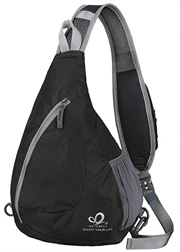 WATERFLY Sling Chest Backpacks Bags Crossbody Shoulder Triangle Packs Daypacks for Cycling Walking Dog Hiking Boys Girls Men Women