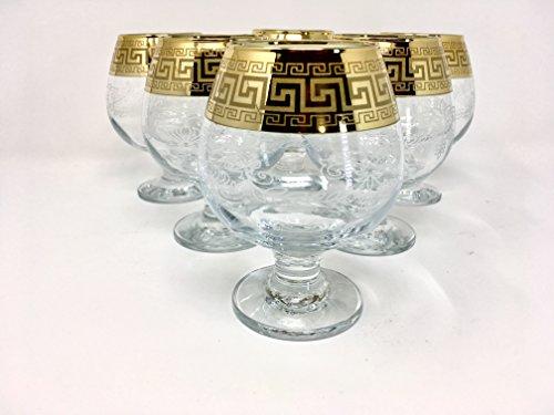CRYSTAL GLASS SNIFTER GLASSES 13oz./400ml. GOLD PLATED SET OF 6 COGNAC BRANDY ARMAGNAC CALVADOS WHISKEY GLASSES ENGRAVED VINTAGE GREEK DESIGN CLASSIC STEM GOBLETS