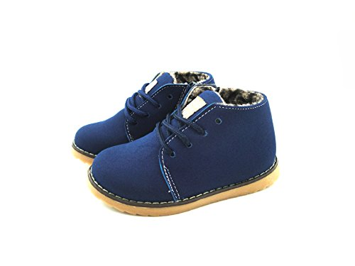 Kid Boy Girl Winter Suede Shoe Lace Up Oxford Fleece Supper