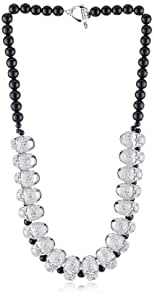 "nOir Jewelry ""Pirates of the Caribbean"" Pave Skull and Pearl Bib Collar Necklace"