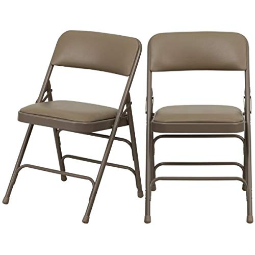 Modern Folding Chairs Upholstered Padded Seat Curved Triple Braced with Double Hinged Powder Coated Frame Finish Indoor-Outdoor Home Office Furniture - Set of 2 Beige Vinyl Seat/Beige Frame #2218