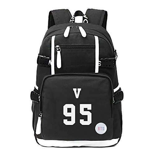 Fanstown Kpop BTS Hiphop Backpack pin botton set canvas Messenger bag with lomo cards by Fanstown