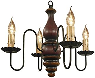 product image for Abigail Wooden Chandelier - Barn Red, Black Rub, Spicy Mustard - Handcrafted In USA