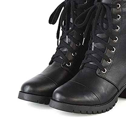ESSEX GLAM Womens Low Heel Platform Ankle Boots Ladies Cleated Sole Combat Lace Up Shoes Size 3-8 4