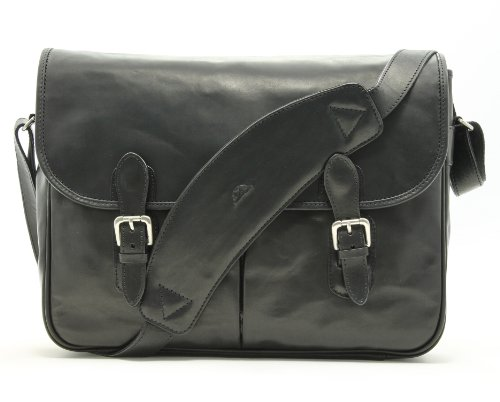 Tony Perotti Italian Leather Lorenzo 15.6'' Laptop Briefcase Messenger Shoulder Bag, Black, One Size by Tony Perotti