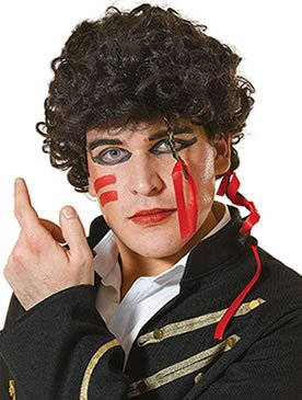 Adam Ant Wig. Dark brown, curly hair wig to add to eighties New Romantic/Adam Ant costume.