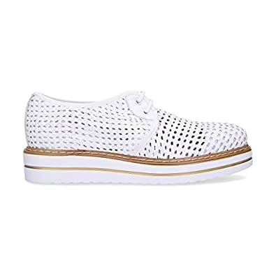 JACKAL Women's Jl75368 White Leather Lace-Up Shoes