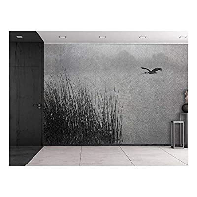 Black and White Photo of a Lone Seagull Flying Over a Pond Wall Mural, Professional Creation, Charming Style