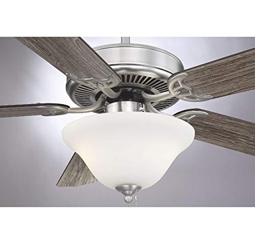 Savoy House 52-ECM-5RV-SN Downrod Mount, 5 White Blades Ceiling fan with 13 watts light, Satin Nickel
