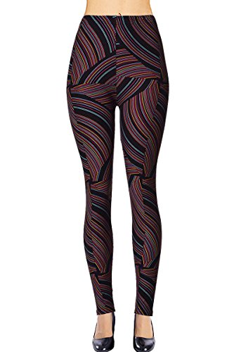 - VIV Collection Plus Size Printed Brushed Ultra Soft Leggings (Flowing Licorice)
