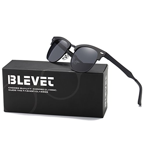 BLEVET Clubmaster Polarized Retro Sun Glasses Classic Metal Al-Mg Semi-rimless Driving Sunglasses Men Women Eyewear(Black Frame, - Black Clubmaster Aluminum