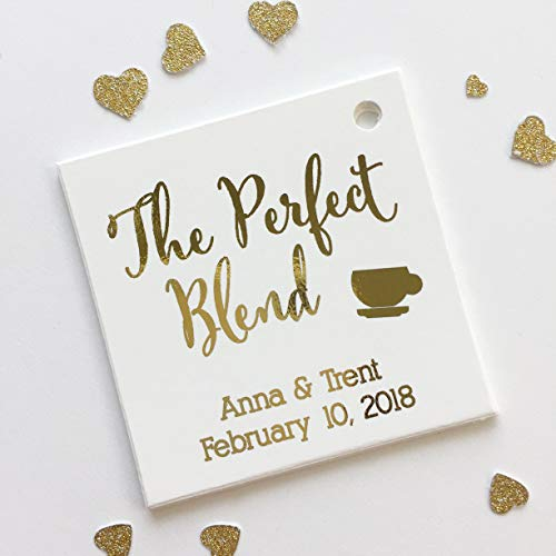 The Perfect Blend Tea or Coffee Color Foil Wedding Favor Hang Tags (SQ-097-F)