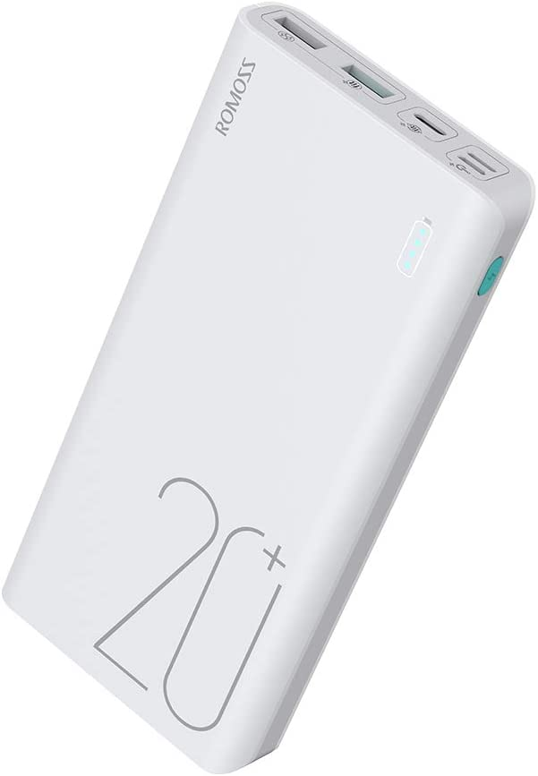 ROMOSS Sense 6+ 20000mAh Type-C PD Portable Charger, 18W Fast Charge Power Bank with Power Delivery Input, Max 3A Output, Compatible with iPhone, iPad, Samsung, Nexus, Nintendo Switch and More