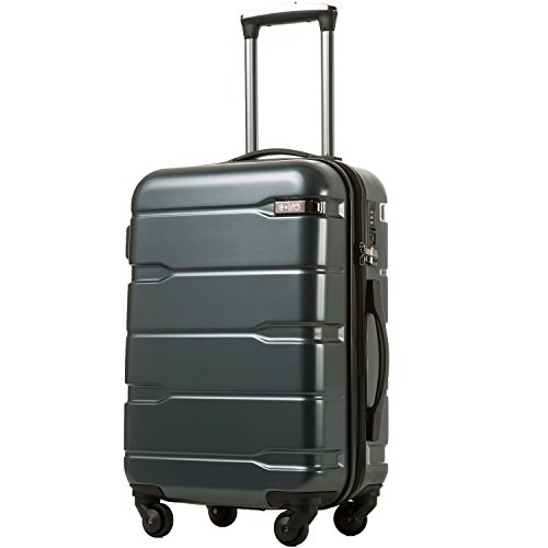Coolife Luggage Expandable Suitcase PC+ABS Spinner 20in 24in 28in Carry on (Teal, S(20in).)