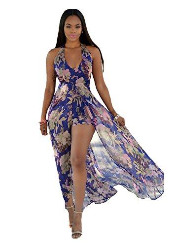5722c9e545b Women s V Neck Halter Floral Maxi Skirt Overlay Romper Jumpsuit Playsuit M