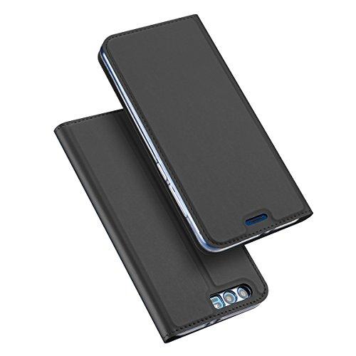 Funda Huawei Honor V10 [Happon] Ranuras para Tarjetas y Billetera Carcasa PU Libro de Cuero Flip Leather Cierre Magnético Soporte Plegable para Huawei Honor V10 (Gris Oscuro) Gris Oscuro