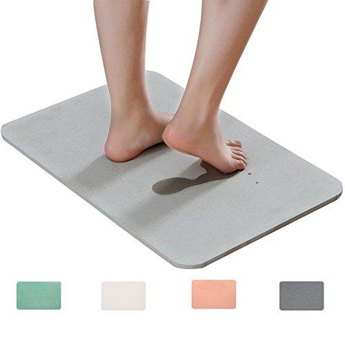 Marbrasse Bath Mat, Absorbent Diatomaceous Earth, Japanese Design, Antibacterial Deodorant Nonslip Bathroom Floor Mats (Grey)