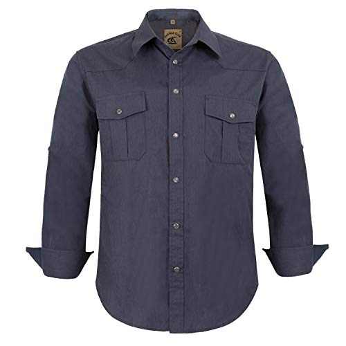Coevals Club Men's Snap Button Down Solid Long Sleeve Work Casual Shirt (Gray, L)