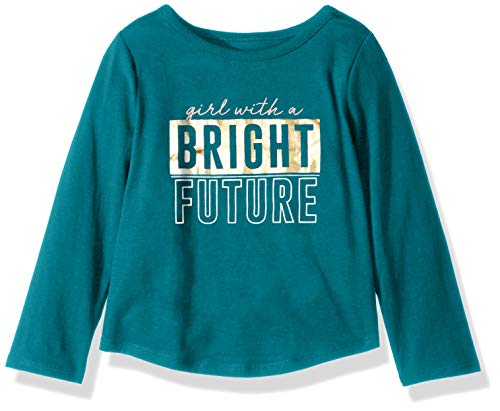 Crazy 8 Girls' Big Long Sleeve Graphic Tee, Bright Future Blue, XL