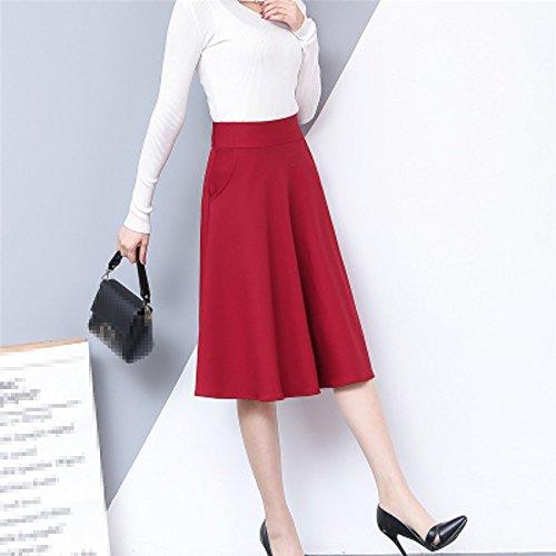Redwith lgant Bureau Jupes Maxi A lastique De ligne Taille Sexy Lady Femmes Jupe Plisse 2XL t vas pockets zq7ZSnCx6w