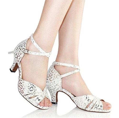 Donne Pompe latino 35 Scarpe Sandali Taogo heel white To40 Taglia 6cm da ballo Danza qgq4B