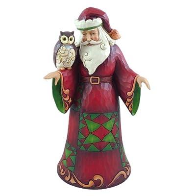 Enesco Jim Shore Heartwood Creek Santa with Owl Figurine, 10-Inch