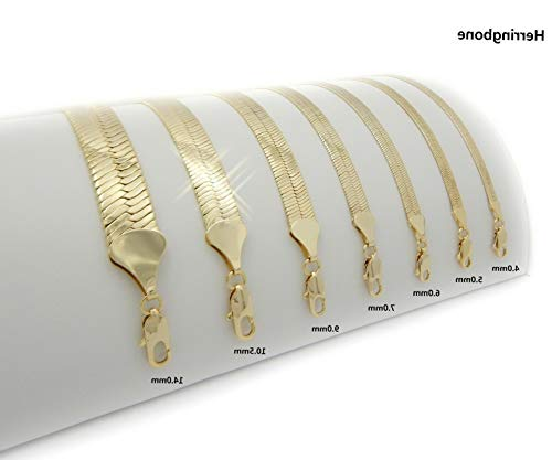Werrox New 14K Gold Plated Herringbone Necklace Chain (4mm to 14mm) / (20/24/30) | Model NCKLCS - 3607 | 9mm / 30