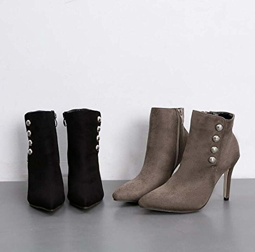 Court scamosciata Boots punta a OL Boots 41 Martin Stiletto Eu taglia 5 9 Gray pelle cerniera in 36 Shoes rivetti cm punta semplice Dress Donna colore puro YRzwP