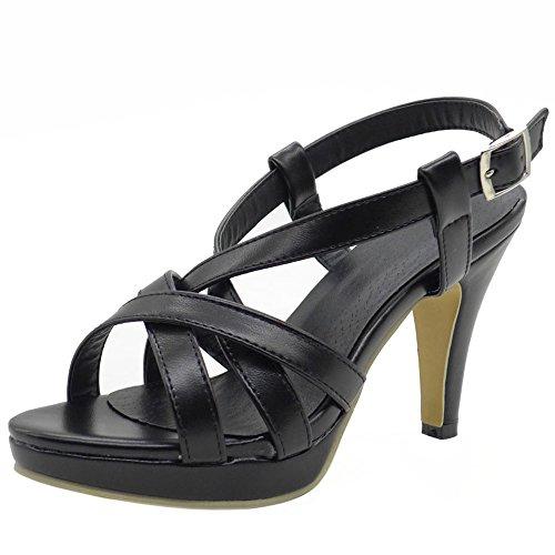 Gladiateur Heel Bretelles TAOFFEN Femmes Chaussures Ete High Sandales Printemps de Sandales Cheville Noir wP8qw
