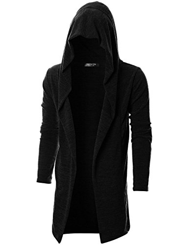 GIVON Mens Long Sleeve Draped Lightweight Open Front Longline Hooded Cardigan with Pocket/DCC255-BLACK-XL ()